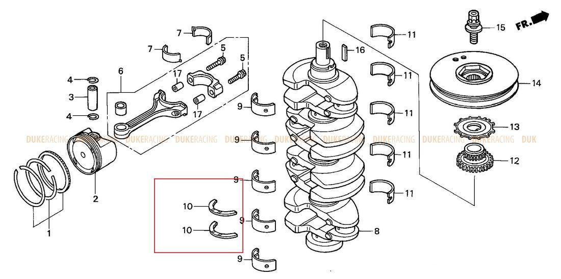 Полукольцо упорное, Honda K20