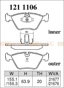 Тормозные колодки Dixcel 1211106 ES BMW Z4M E85/E86, X3 E83 2.5i/3.0i,  M3 E46 00/08-, E39 525i/528i/535i, передние