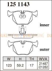 Тормозыне колодки Dixcel ES 1251143  BMW Z4M E85/E86, E38 728-750, E39 M5, X5 FA30/FBB44, E31 840/850, E46 330 AV30/ M3 BL32, задние
