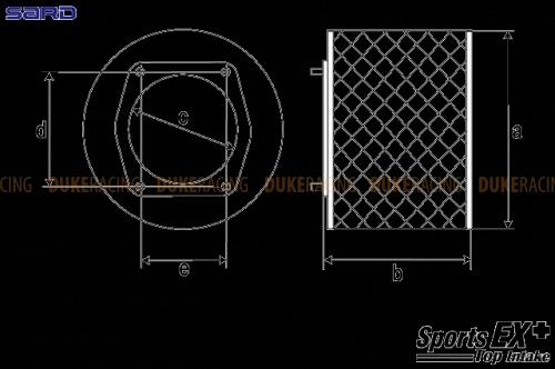 SARD Воздушный фильтр Sports EX+ универсальный L(T) 59924