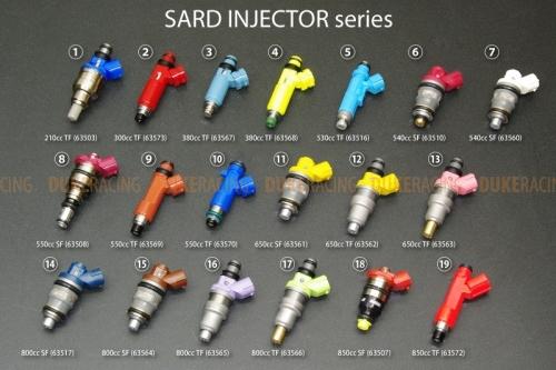 Инжекторы SARD 800сс, Nissan Skyline GT-R, Silvia S13, Mitsubishi EVO I-IX, Mazda RX-7  (FC3S)