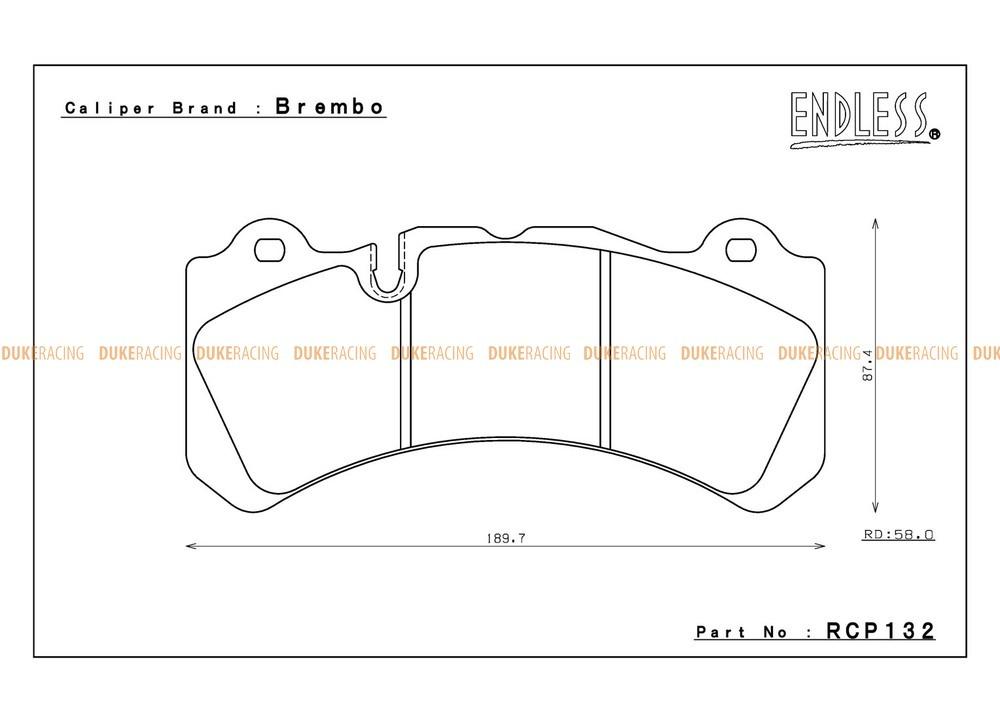 RCP132MX72PL Томозные колодки RCP132 MX72 PLUS для Brembo® GT6 Calipers Utilizing Wide Rotors (58mm pad depth) Brembo Pad # 07.9551.13 передние